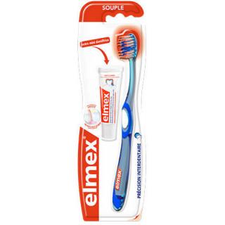 Elmex Précision Brosse à dents souple + Mini dentifrice Offert