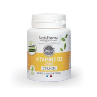 Nat&Form Vitamine D3 + zinc immunité - 60 gélules