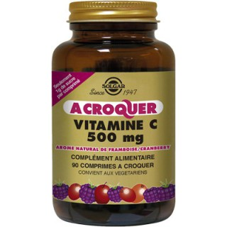 Solgar Vitamine C 500mg Framboise/Cranberry 90comprimés