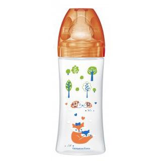 Dodie Biberon Orange forêt 330 ml - Tétine plate silicone