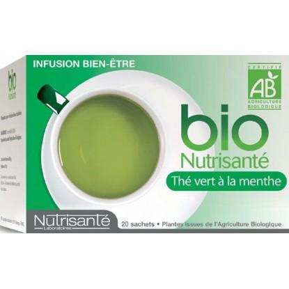 Tisane bio thé vert à la menthe bte 20 sachets