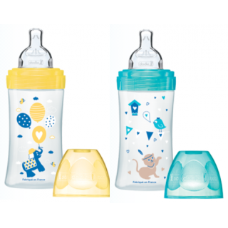 Dodie Sensation Anti-colic Flat teat Babybottle 270ml 0-6 mois elephant and cat x2