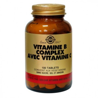 Solgar vitamine B Complexe avec Vit c 100 tablettes