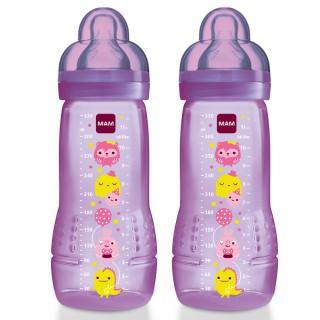 Mam 2 babybottles Age 2 Circus Pink 330ml